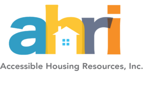 """AHRI's logo, the letters """"ahri"""" in lower case with a house in the """"h""""; the text """"accessible housing resources, inc."""" below"""